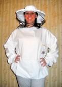 Pčelarska bluza - beli keper (100% pamuk), sa fiksiranim šeširom