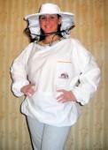 Pčelarska bluza - beli keper (100% pamuk), šešir se može odvojiti od bluze radi lakšeg održavanja i mogućnosti pranja donjeg dela