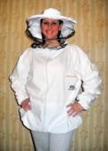Pčelarska bluza - beli keper (100% pamuk), šešir se može odvojiti od bluze i prednji deo se može raskopčati radi lakšeg oblačenja